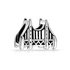 FB Jewels Solid 925 Sterling Silver Golden Gate Bridge Charm