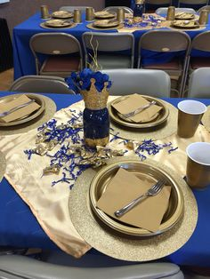 Royal Blue table setting, mason jar centerpiece