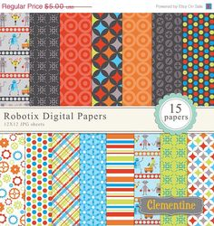 Great patterns from Clementine Digitals (Etsy) - Robot digital paper 12x12, digital scrapbook paper, commercial use- Instant Download. $3,00, via Etsy.