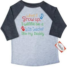 Inktastic Latin Teacher Like Daddy Toddler T-Shirt Child's Kids Baby Gift Teacher's Son Childs My Cute Occupation Apparel Job Career Handprints Tees. Child Preschooler Kid Clothing Hws, Size: 3T, Black