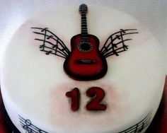 Music Guitar 2D Cake Topper 100% Edible  by SweetCakeByAnastasia