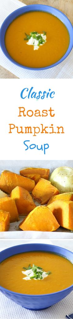 This soup is a family favourite of ours. I love how quick and simple it is to whip up and it tastes AMAZING! Roasted Pumpkin Soup Recipe, Roast Pumpkin Soup, Pumpkin Recipes, Fall Recipes, Soup Recipes, Vegetarian Recipes, Cooking Recipes, Healthy Recipes, Recipies