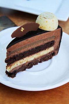 Chocolate Vanilla Coffee Entremet: Crispy hazelnut feuilletine, vanilla bean cremeux, chocolate biscuit, coffee creme brulee, chocolate bavarois, chocolate glaze