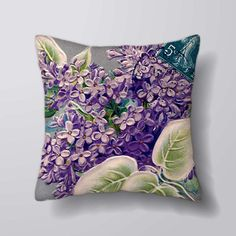 Purple Flowers - Printed Cushion Covers Pillow Cases Home Decor or Inner   Home & Garden, Home Décor, Pillows   eBay!