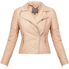 Muubaa Meursault Blush Leather Biker Jacket (280 CAD) ❤ liked on Polyvore featuring outerwear, jackets, neutrals, padded motorcycle jacket, genuine leather biker jacket, rider jacket, real leather jackets and motorcycle jacket