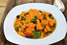 Are you ready for fall yet? Our Slow Cooker Butternut Squash and Kale Stew is our SkinnyMs. take on a popular Portuguese soup.