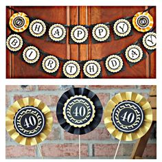 40th Birthday party decor purple black banner and cupcake topppers