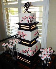 Sakura wedding - Asian themed wedding required Asian style cake, hence 3 tiered Sakura blossom cake with glowing separators. Japanese Wedding Cakes, Japanese Cake, Elegant Wedding Cakes, Trendy Wedding, Pretty Cakes, Beautiful Cakes, Cherry Blossom Party, Cherry Blossoms, Asian Party