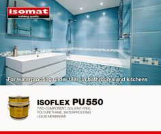 Ensure high-quality impermeability and save money, selecting the new two-component, polyurethane waterproofing liquid membrane ISOFLEX-PU 550 by ISOMAT. Liquid Waterproofing, Tiles, Money, Bathroom, Room Tiles, Washroom, Tile, Bathrooms, Bath