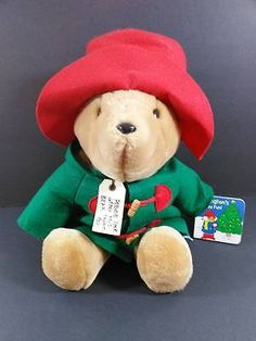 "PADDINGTON BEAR w Story Book Red Hat Christmas Plush Toy Sears Vintage 10""  B109"