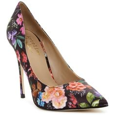 Nicole Miller Maison Genuine Leather Pump ($80) ❤ liked on Polyvore featuring shoes, pumps, floral noir satin print, patterned pumps, floral shoes, floral pattern shoes, floral-print shoes and pointed toe stilettos