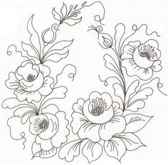Roses template for papel vegetal