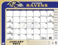 Perfect Timing - Turner 2013 Baltimore Ravens Desk Calendar, 22 x 17 Inches (8061231) by Perfect Timing - Turner. $13.99. This large-scale calendar is perfect for any desk. Ample space for notes and doodles, the team desk calendar will help keep you on schedule and up to date.