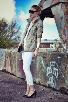 Pair a military jacket to dress down summer whites