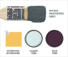 2012 Paint Trends from House and Home.Less Gothic than 2011's blue-black, Farrow & Ball's Down Pipe (26) is a softer, more versatile grey with an innate cosiness, like the walls of an old stone cottage. Suited to intimate bedrooms or even kitchen cabinets, this purple-tinged grey works best with a light ceiling or floor. ACCENT FOR ACCESSORIES: Muted gold picture frames and upholstery. CLASSIC TRIM: Twinkle in Her Eyes (P5163-34D), Para Paints. BOLD TRIM: Pelt (254), Farrow & Ball.