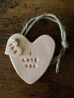 I Love You: Blush coloured clay heart & personalised tag ~ perfect personalised gift for Mother's Day ~ wedding anniversary ~ wedding gift