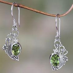 NOVICA Lacy Peridot and Sterling Silver Dangle Earrings