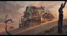 Wasteland Bar by Pavel Vophira Apocalypse World, Apocalypse Art, Nuclear Apocalypse, Apocalypse Aesthetic, Environment Concept Art, Environment Design, Sci Fi Fantasy, Fantasy World, Fantasy Town