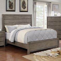Furniture of America Ziva I Rustic Plank Style Grey Bed