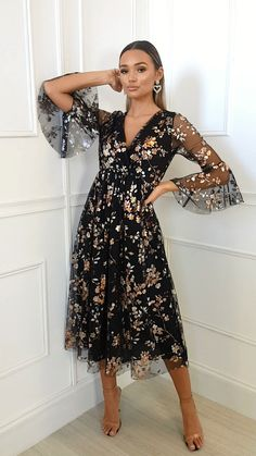 Eden Floral Tulle Maxi Dress at ikrush Casual Dress Outfits, Stylish Dresses, Fashion Dresses, Classy Dress, Beautiful Outfits, Designer Dresses, The Dress, Fashion Looks, Summer Dresses