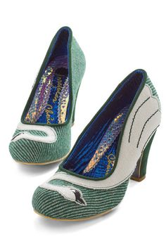 Stride a White Swan Heel. Infuse your strut with graceful sophistication in these fern-green heels from Irregular Choice! #gold #prom #modcloth