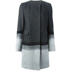 Dondup Knitted Panel Herringbone Coat ($673) ❤ liked on Polyvore featuring outerwear, coats, black, dondup, herringbone coat and black coat