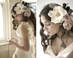 Rose Hair Wedding Flower Arrangements - The Wedding SpecialistsThe Wedding Specialists Hairdo Wedding, Wedding Hair Down, Wedding Hair Flowers, Flowers In Hair, Silk Flowers, Floral Wedding, Silk Roses, Large Flowers, Fresh Flowers