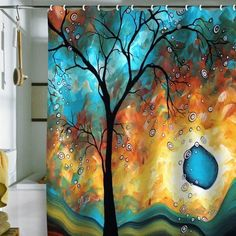 Artistic Shower Curtain...colors are blues, greens, browns, tree