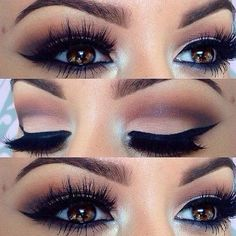 Dramatic Eyes- Make-Up- Party Time- Night Time- Weddings… Gorgeous brown eyes. Dramatic Eyes- Make-Up- Party Time- Night Time- Weddings… Cute Makeup, Gorgeous Makeup, Pretty Makeup, Prom Makeup, Gorgeous Eyes, Perfect Makeup, Perfect Eyes, Pageant Makeup, Makeup Style