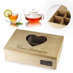 Mit der gravierten #Teebox aus Holz hast du ein tolles Geschenk für alle Teeliebhaber mit persönlicher Note. Erfreue deine Freunde oder Familie mit einer praktischen Dekoration für ihre Küche!