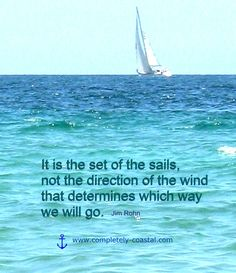 Sailing quote. It is the set of the sails... http://pinterest.com/artseabeach/ocean-quotes/ #jimrohn #kurttasche #successwithkurt