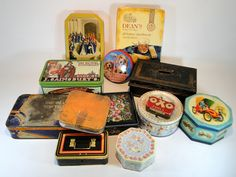 159) Collection of vintage advertising tins and an old cash box (13) Est. £10-£20