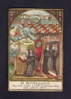 Goldprint Holy Card  ** Sainte Hildegard **