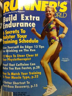 Runner's World Tilda Tearle on the cover of the magazine. Running Magazine, Running Photos, Training Schedule, Can Run, Runners World, How To Run Faster, Old School, Clinic, Spandex