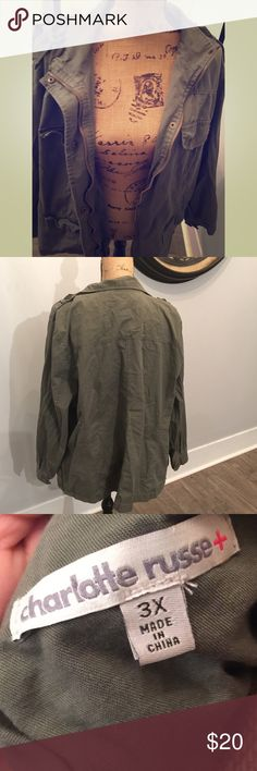 Charlotte Russe utility jacket Very stylish Charlotte Charlotte Russe utility jacket in an army green color. Charlotte Russe Jackets & Coats Utility Jackets