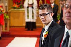 Groom watching bride come down the aisle | Matt Mason Photography | Lake Geneva, WI