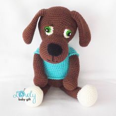 This is a DOWNLOADABLE puppy crochet pattern and NOT the finished toy. Pattern is written in ENGLISH (in US terms), DANISH, DUTCH, GERMAN, SPANISH and FRENCH languages. This stuffed puppy toy is easy to make, if you know all the basic crochet terms: - crocheting in rounds - chain,