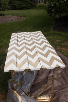 DIY Chevron Table via Whit's Amuse Bouche