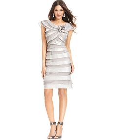 London Times Cap-Sleeve Tiered Rosette Dress
