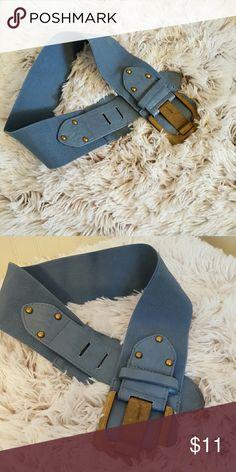 NWOT Blue stretch belt w / brushed gold buckle. NWOT Blue stretch belt w / brushed gold buckle Accessories Belts