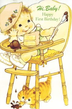 vintage birthday greeting card UNUSED by vvpaperemporium Happy First Birthday, Valentines Day Birthday, Baby 1st Birthday, First Birthdays, Vintage Greeting Cards, Birthday Greeting Cards, Birthday Greetings, Birthday Wishes, Birthday Quotes