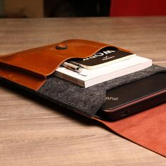 Dpark Genuine Leather with Felt Vintage Envelope Computer Notebook Sleeve Pouch Case for Apple MacBook 12 inch Laptop/ASUS EeeBook Chromebook inch Laptop Bag (Dark Grey and Coffee) Notebook Sleeve, Chromebook, Laptop Bag, Computer Accessories, Macbook, Pouch, Men Gifts, Envelope, Leather