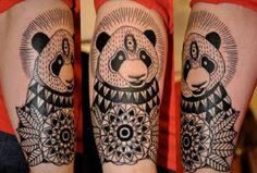 Tribal Panda sleeve tattoo