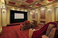 90 Home Theater & Media Room Ideas (Photos) - Luxury home theater with rich red carpeting, reclining suede theater chairs and crown molding - Home Theater Room Design, Best Home Theater, Home Theater Setup, Home Theater Rooms, Home Theater Seating, Theatre Design, Cinema Room, Theater Seats, Home Entertainment