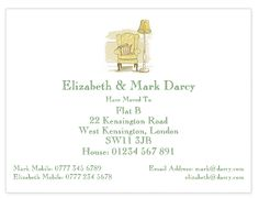 Illustrated change of address cards featuring a hand drawn arm chair.