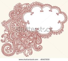 Hand-Drawn Cloud Shaped Henna (mehndi) Paisley Doodle Vector Illustration Design Element - stock vector