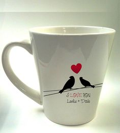 custom cup Personalized Love bird cofee mug
