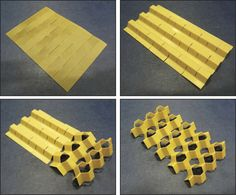 """Kirigami honeycomb material exhibits a """"Poisson's switch"""" Kirigami, Paper Folding Techniques, Origami Techniques, Origami Design, Paper Structure, Sculpture Techniques, Diy Rangement, Cardboard Sculpture, Paper Architecture"""