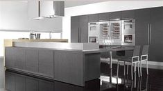 Gray Washed Wood Floors - Contemporary - kitchen - Mar Silver Design