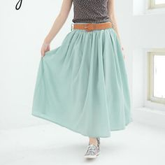 rico - Belted Pleated Maxi Skirt